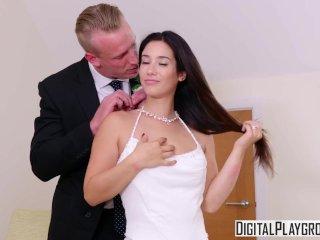 Az esküvő után jöhet a nászéjszaka. Vad hardcore kefélés az ifjú feleséggel, kemény análszex, a szűk kis popó jól szétbaszva. - Hot fuck at wedding night